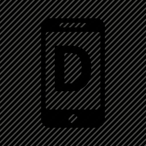 alphabet, d, letter, phone, smartphone, text icon