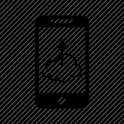 cloud, mobile, phone, upload, uploader, uploading icon