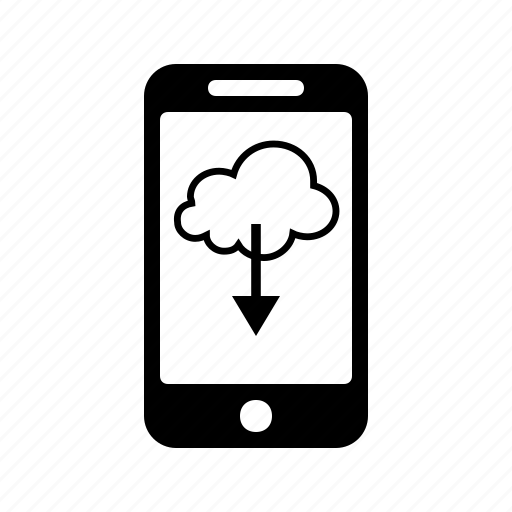 cloud, download, mobile, phone, smartphone icon