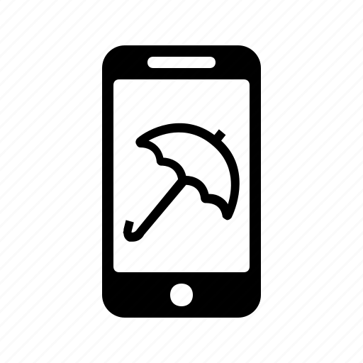 Shop, smartphone, umbrella, mobile, phone, online icon