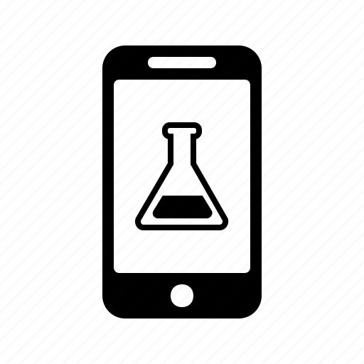 application, chemistry, phone, science, smartphone, test, tube icon