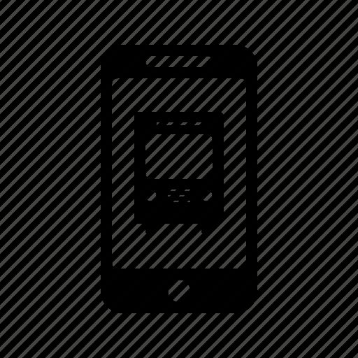 application, autobus, coach, phone, smartphone, transport, vehicle icon