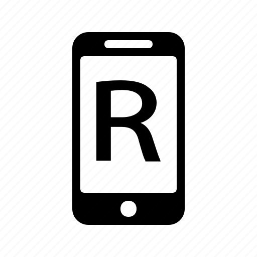 Smartphone, alphabet, phone, r, letter, text icon