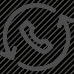 call, communication, conversation, interface, recall, technology icon