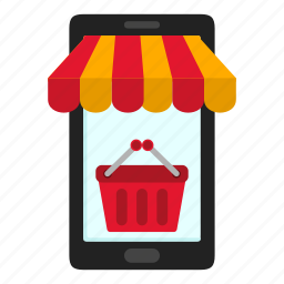 basket, cart, commerce, ecommerce, mobile, shop, shopping icon