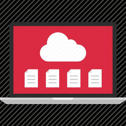 cloud, data, files, laptop, online icon