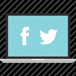 facebook, laptop, online, twitter icon