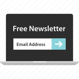 free, laptop, newsletter, online, sign, up icon