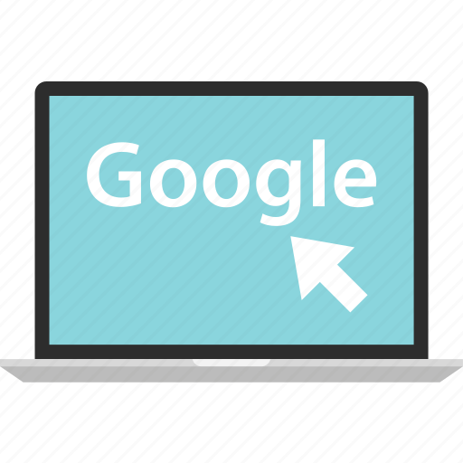 arrow, click, google, laptop, online icon