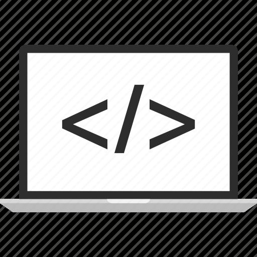 code, development, laptop, online, web icon
