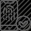 finger, fingerprint, phone, print, repair, smartphone, unlocking icon