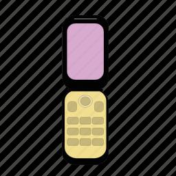 cellular, communication, display, flip, phone, telephone, wireless icon