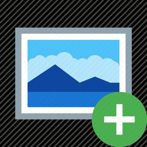 add, image, new, photo, picture, plus icon