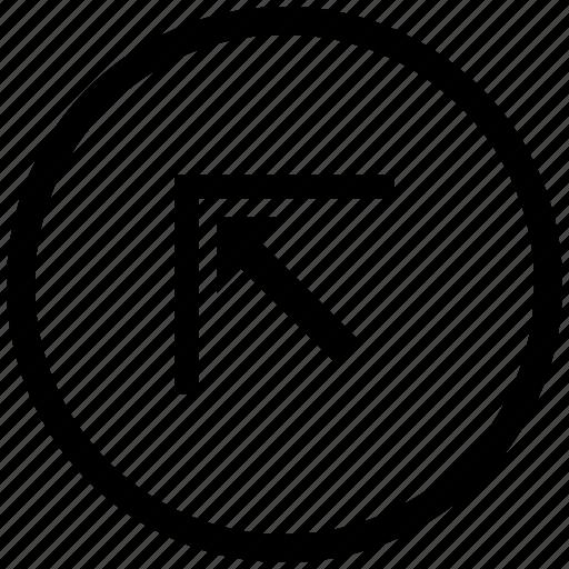 arrow, atm, corner, left, round, top icon