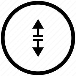 arrow, atm, border, round, separate, vertical icon