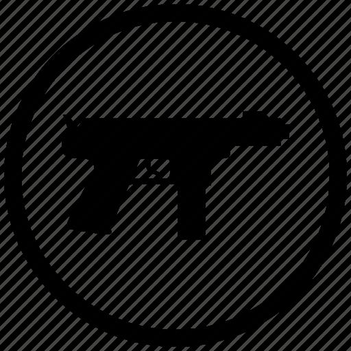 atm, automatic, gun, mashine, round, shoot, weapon icon