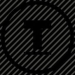 border, format, letter, round, text, underline icon