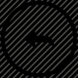 arrow, atm, left, round, turn icon