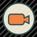 camera, circle, media, video icon