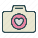 camera, heart, love, photo icon