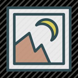 landscape, moon, mountain, photo, picture icon