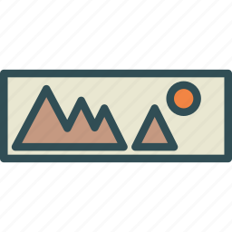 landscape, mountain, photo, picture, sun icon