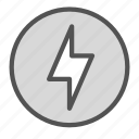 bolt, circle, lightining icon