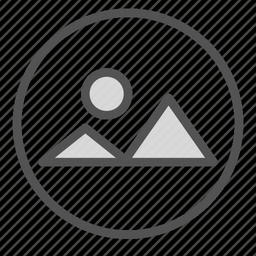 circle, landscape, photo, picture icon