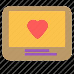 heart, love, monitor, screen icon