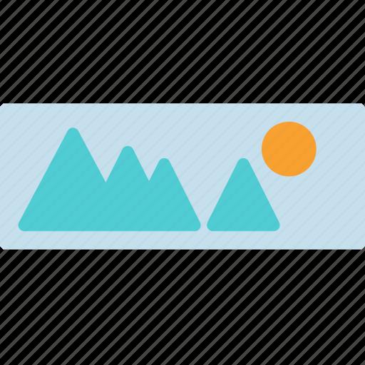 landscape, mountain, photo, picture, sun icon