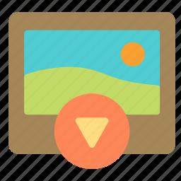 arrow, down, download, media, photo, picture icon