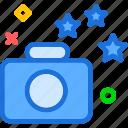 camera, device, photography, photoshoot, stars icon
