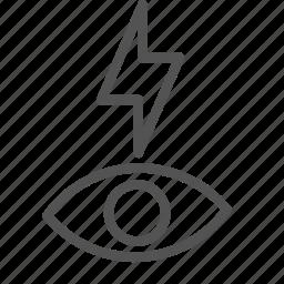 bolt, eye, flash, lightining, redeye icon