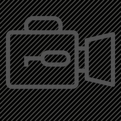 camera, key, lock, switch, video icon