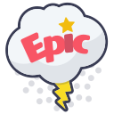 cloud, epic, layer, photo, sticker, storm, word icon