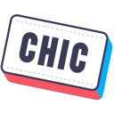 chic, chik, layer, photo, sticker, word icon