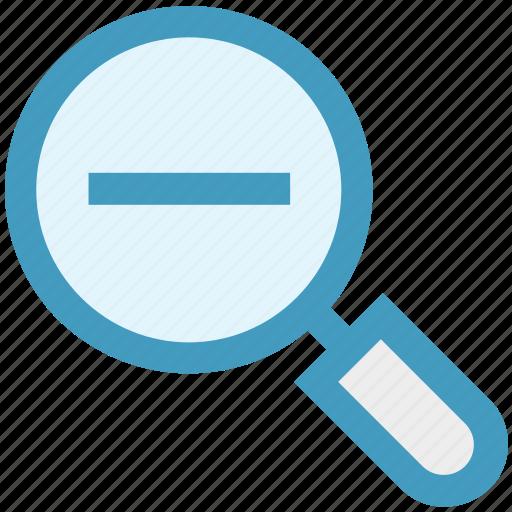 magnifier, minus, remove, search, view, zoom icon