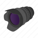 camera, cartoon, design, lens, sign, style, zoom icon