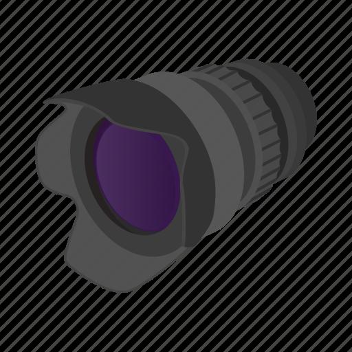 camera, cartoon, design, lens, sign, style, zoom icon