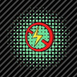 allowed, comics, flash, lightning, no, power, prohibition icon