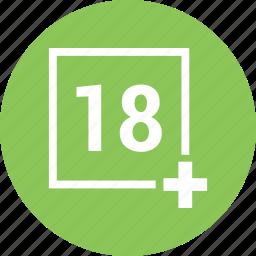 18 plus, movie, multimedia, play, player icon