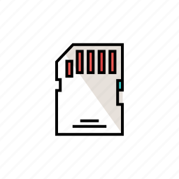 card, memory card, multimedia, photography, sd card, storage icon
