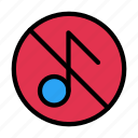 music, notallowed, hide, media, sound icon