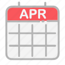 april, calendar, date, dates, month, numbers, ui icon
