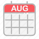 august, calendar, date, dates, month, numbers, ui icon