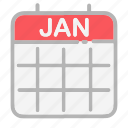 calendar, date, dates, january, month, numbers, ui icon