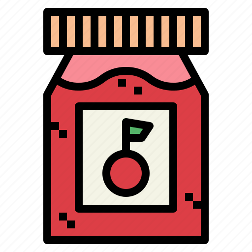cherry, food, jam, jar icon