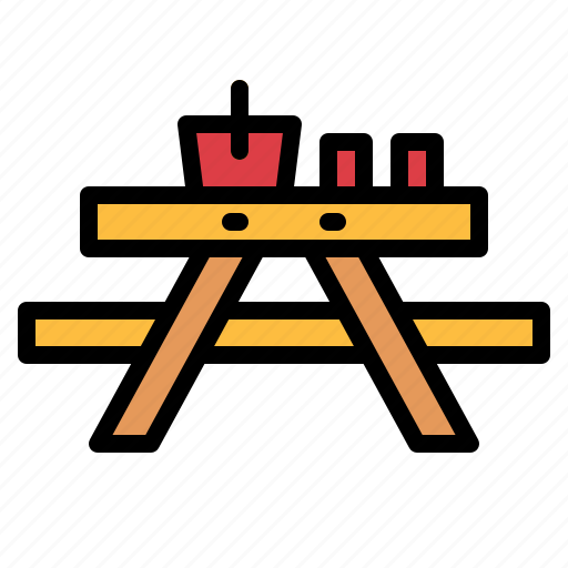camping, picnic, table icon
