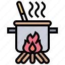 boiling, camping, cooking, outdoor, picnic icon