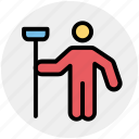 cleaner, janitor, man, mop, person, sweeper
